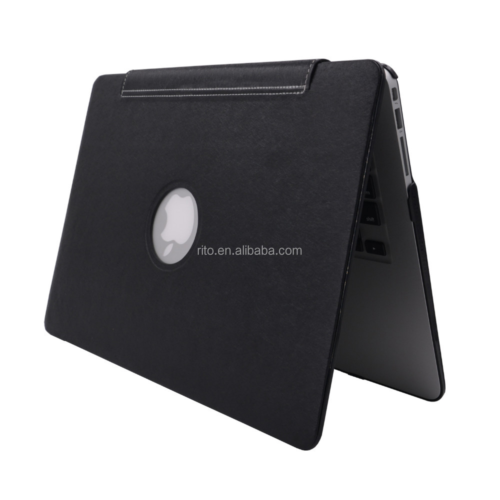 3D Leather Sleeve Protect Case for Apple Macbook, BLACK