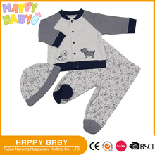 Dog Print Applique Two Pcs Baby Boy Clothing Cotton Interlock Pajama Hat Long Sleeve Top with snap front open Pants with cover