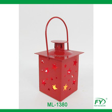 Small Mini Christmas X'mas Red Metal Lantern with Star Decoration