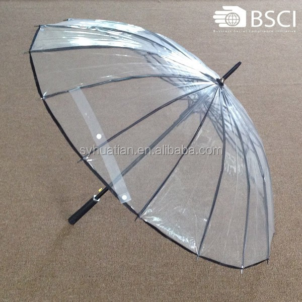 China promotion 16 ribs transport clear unique rain umbrellas