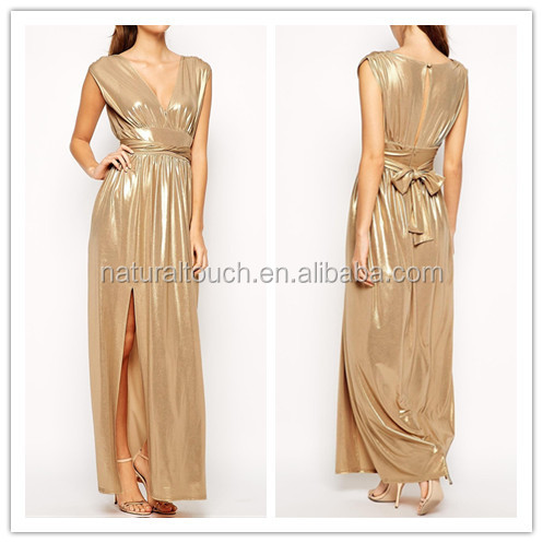 2014 Fashion Plunge Neck Designs Evening Dress/Gown With Wrap Belt For Ladies Wear In Party WS0044