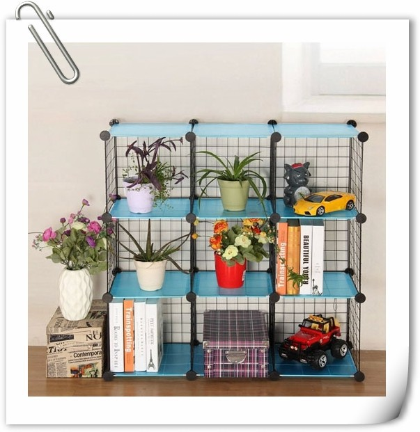 mix-assemble stackable diy grid cube wall mounted wire frame rack