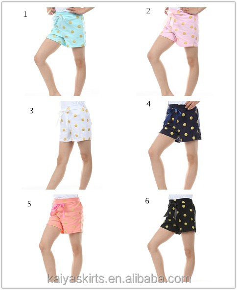 Multicolored dots bowknot design stylish easy sports doing cotton children girls shorts