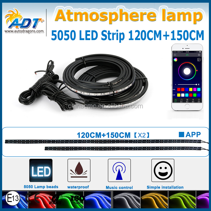 2017 Hot new product universal Car RGB multicolor LED Strip Light Decorative Atmosphere Lamps with Bluetooth Phone APP Control