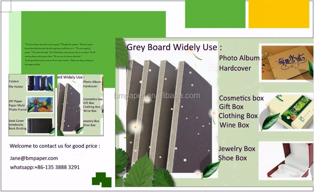 0.5 1.5mm 2mm 2.5mm 3mm 3.5mm 1350gsm Gray Chipboard Duplex Laminted Grey Board