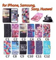 Painting Cover Silicon PU Leather Case for iPhone Flip Book Style