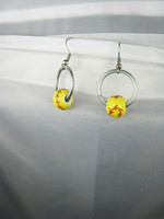 Yellow ceramic jewelry bulk latest baseball earrings, chunky 20 mm Sports Jewellery Jewellery
