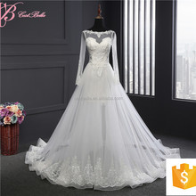 Long Sleeve Cathedral Train Victorian Lace Wedding Dress Bridal Gown 2017