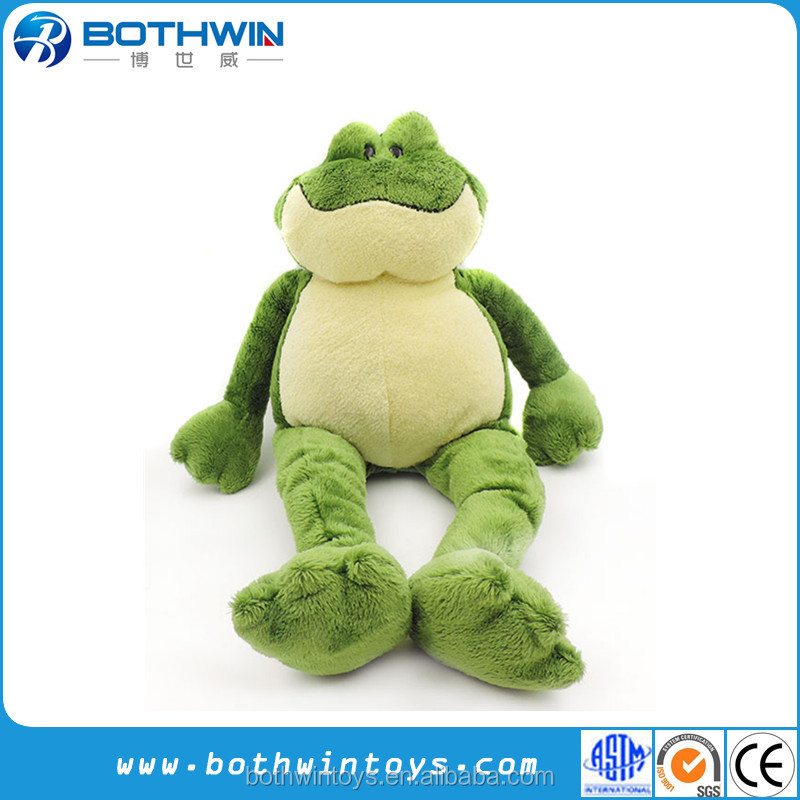 Tiny eyes and long legs green frog stuffed animal toy