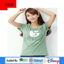 New Wholesale Cute Animal Printed Slim T Shirts Design for Ladies in Nanchang factory