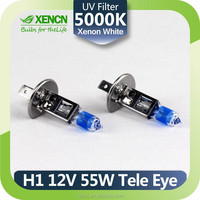 Automotive Bulbs Source XENCN H1 P14.5S 5000K 12V 55W Teleeye Intense Light Car Headlights UV Filter Halogen Lamp Xenon Looking