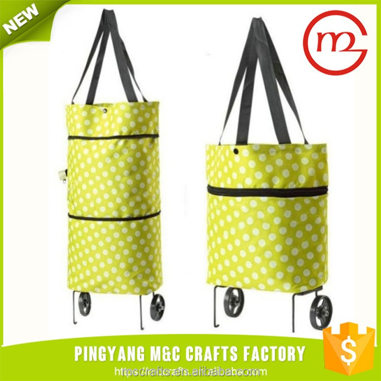 Portable wheels foldable shopping travel luggage cheap trolley bag