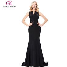 Grace Karin Grace Karin Floor-Length Sleeveless V-Neck Hollowed Back Elegant High Stretchy Long Black Evening Dress GK000121-1