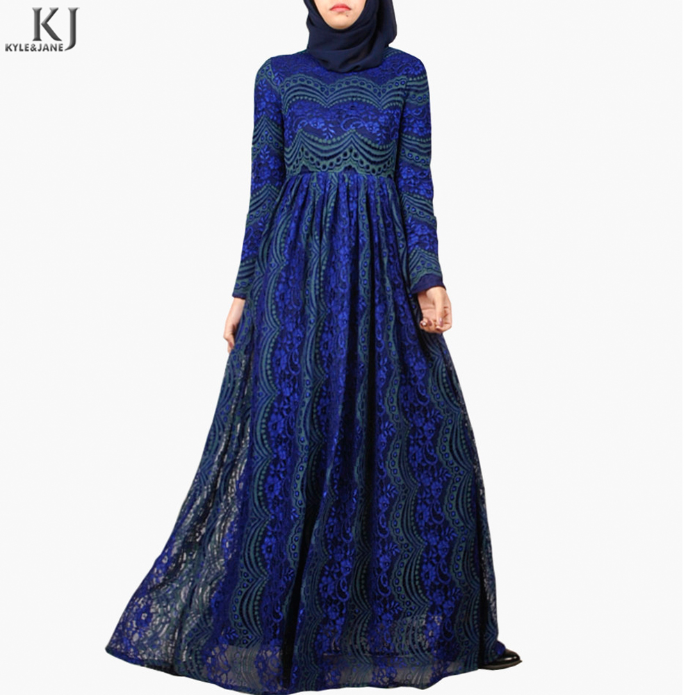 elegant colorful french lace 2017 new designs abaya wholesale waist connection muslim dress for yong girl