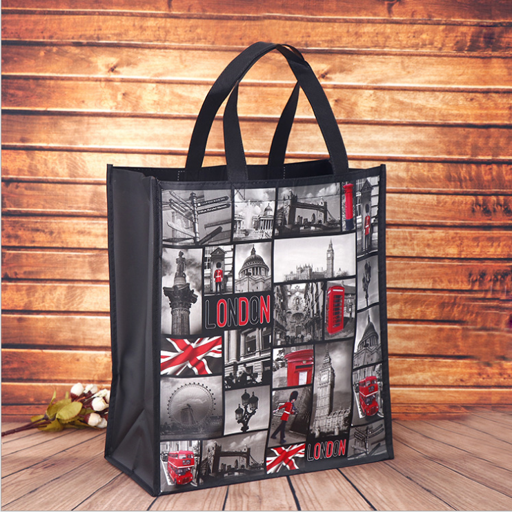 cheap printed wholesale custom reusable folding non-woven fabric handbag bedding household textile package shopping bag
