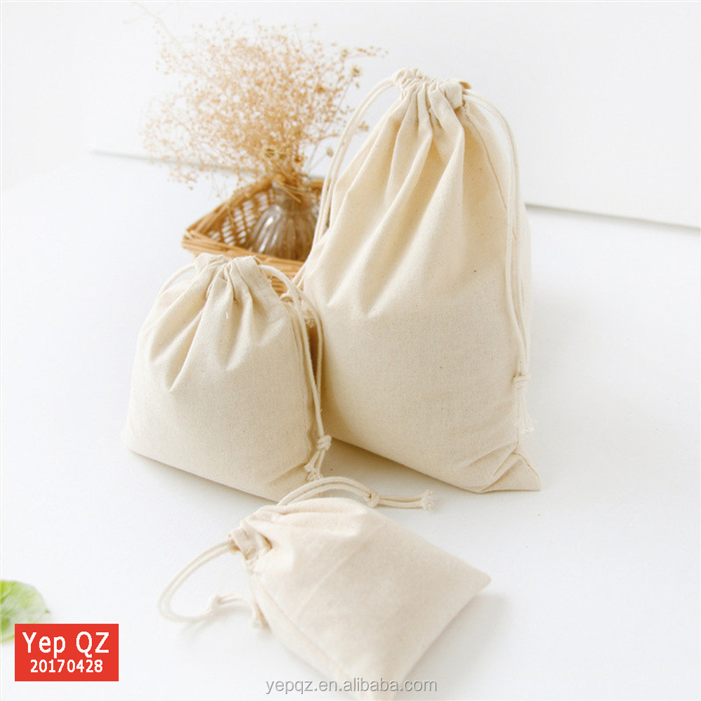 Wholesale natural color blank customized size recycled drawstring 100% cotton canvas gift bag for promotion