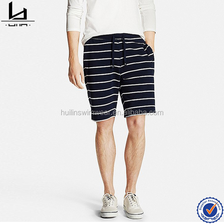 Wholesale fashion boys black and white mens striped cargo elastic waist shorts
