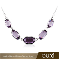 OUXI candy shaped purple crystal christmas santa beaded necklace Y10092