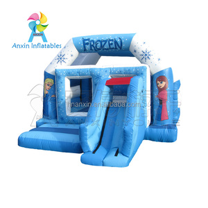 PVC Material Widely Commercial Used Adult Inflatable Frozen Jumping Bounce House With Slide