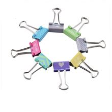 19mm Promotional custom OEM printing metal silver handle binder clips different kinds paper clips