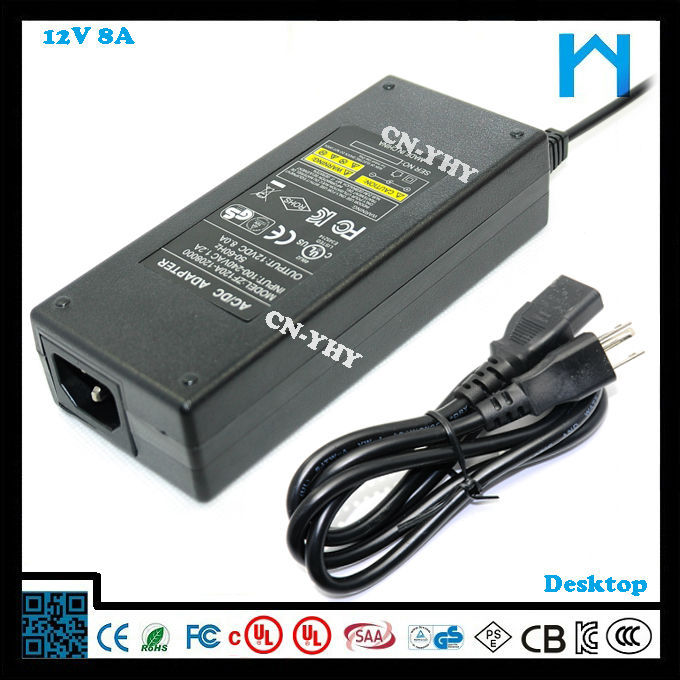 12vdc waterproof led power supply led strip switching power supply 96w replacment ac dc adapter 8A