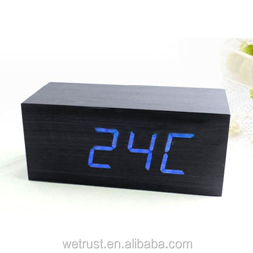 Cuboid LED Wooden Digital Temperature Dispaly Desk Alarm Clock