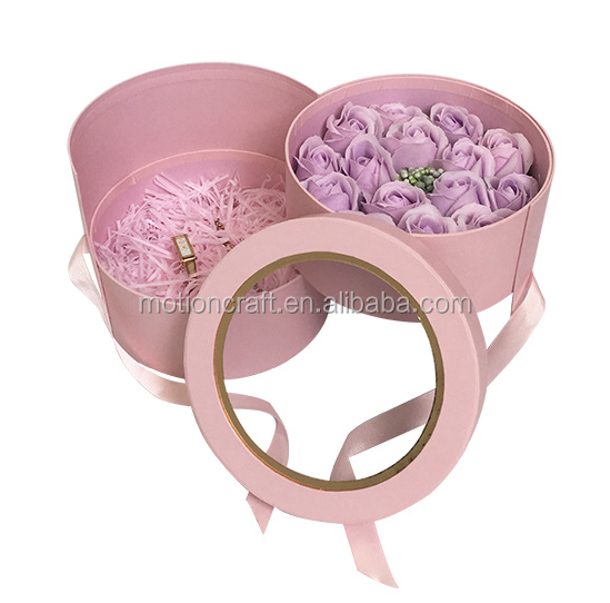 double-deck Round wedding candy flower box gift,have stock