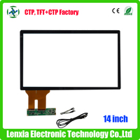 High quality capacitive 16:9 14 inch touch screen panel
