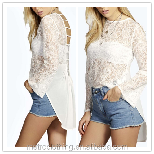 2015 china manufacturer customized latest design casual ladies lace caged back blouse