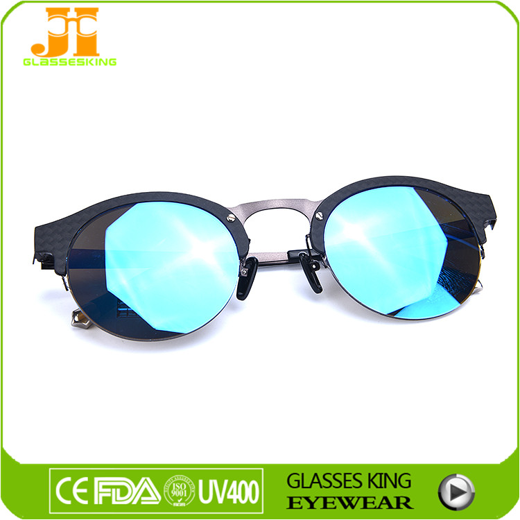 Carbon fiber Sunglasses polarized mirrored lens half frame new sunglasses