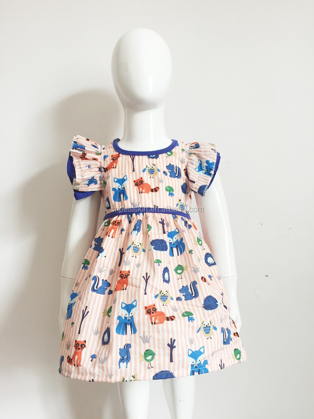 2017 new arrival cute cartoon printing baby frock design pictures wholesale boutique pretty princess dress