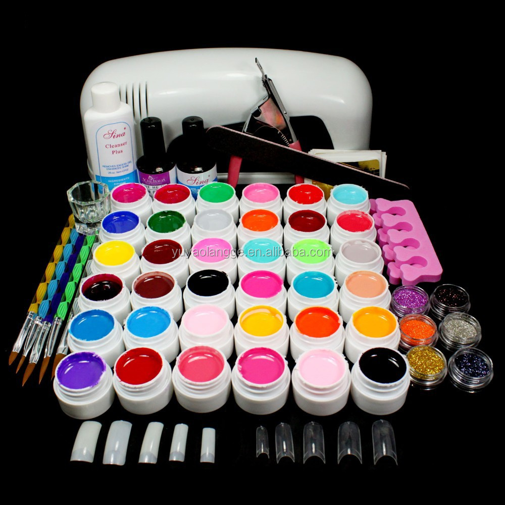 9W UV White Lamp 36 Color Pure UV GEL Powder Acrylic Brush Nail Art Tool KIT