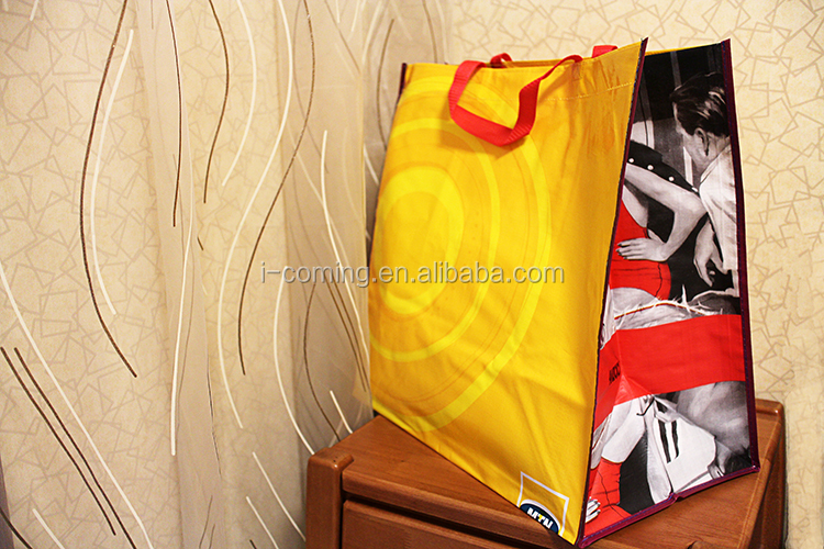 EU Standard promotional bopp laminated pp woven shopping tote packing bag