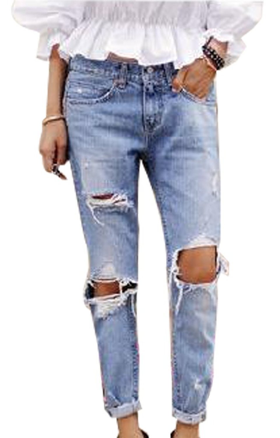 2015 Denim Blue Trousers Fashion Women Vintage Holes knee Ripped Jeans Female Retro Denim Women Europe baggy boyfriend jeans