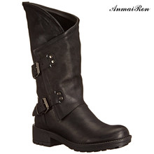 woman Leather army combat military Motorcycle boots