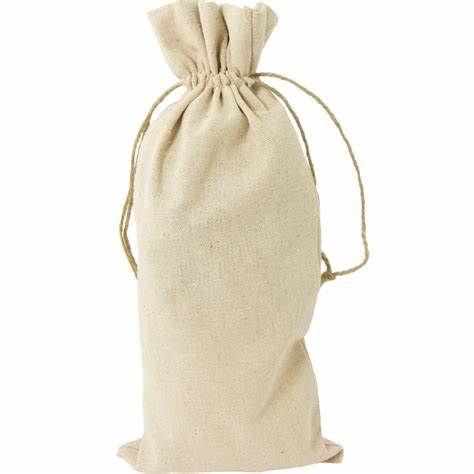 Custom design logo printed 1 bottle canvas cotton drawstring wine bag