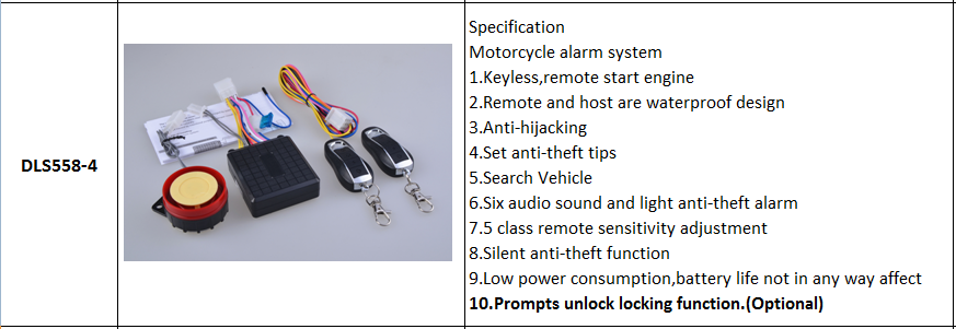 one way motocycle alarm system,nice new remote motorcycle alarm