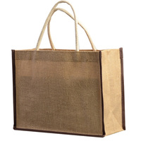 Heavy duty promotional custom printing eco laminated plain jute beach bag