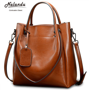Fashion oil wax leather shoulder lady handbag messenger handbag vintage women's handbags