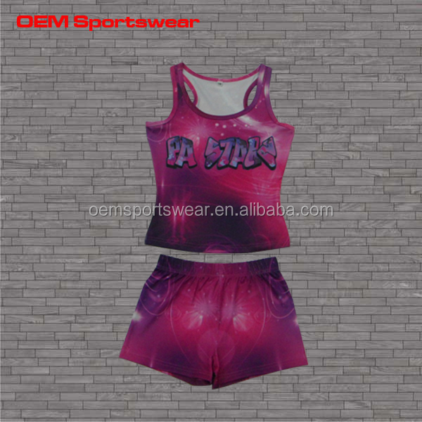 High quality tank top set sublimation cheerleading uniform apparel