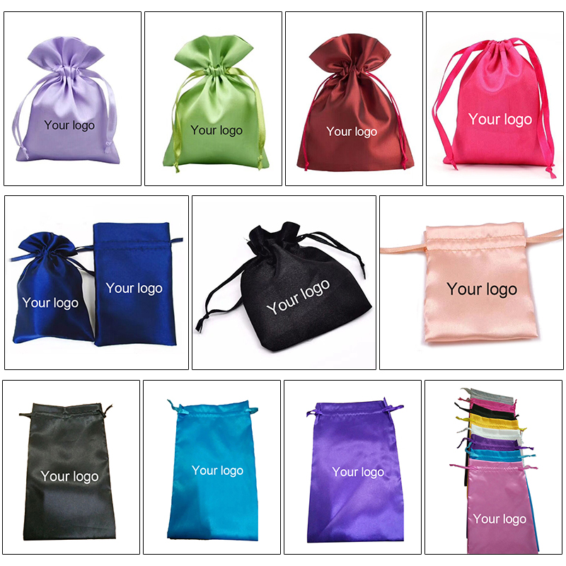 Wholesale <strong>Custom</strong> Package Drawstring Satin Silk Bag For Hair Extension Bundle, Hair Extension Packaging <strong>Custom</strong>