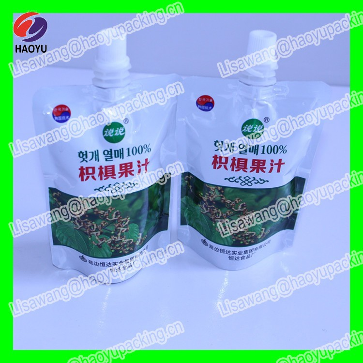 Soft drink Laminated material stand up <strong>PE</strong>/PET plastic beverages bags with spout