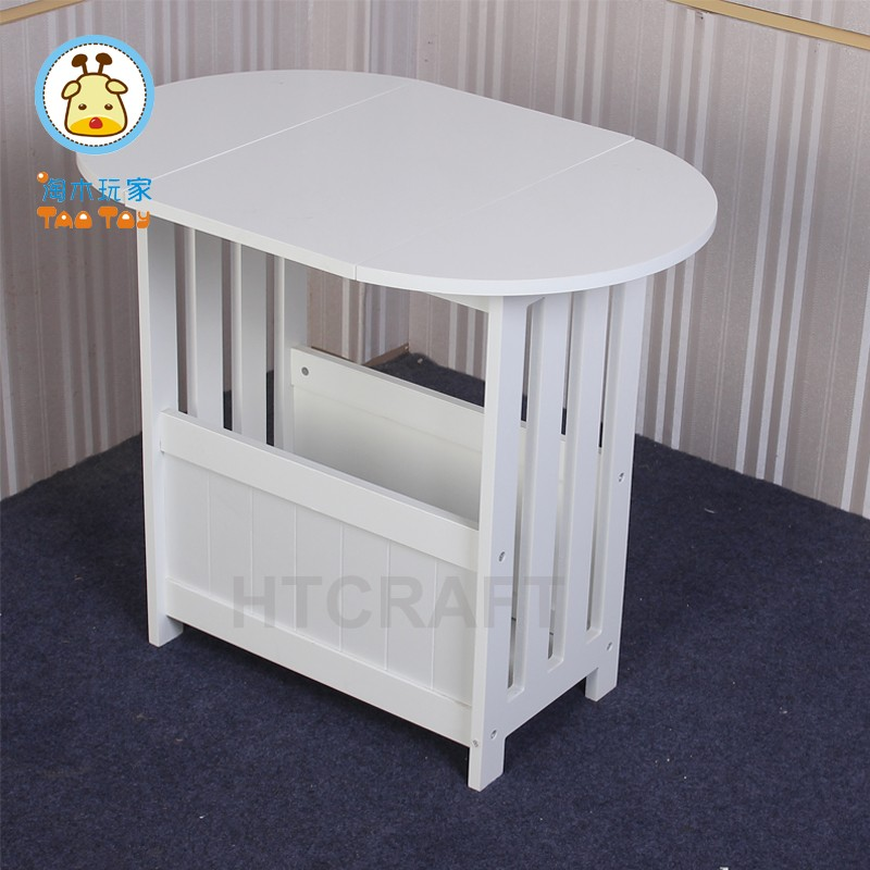 Wooden Flodable Table With Storage, White Coffe Table/Magazine Table