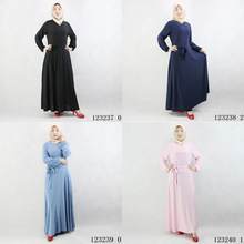 X62736A Women Muslim solid colored dress loose Saudi robe Arabia women's dress