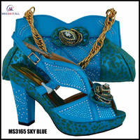 high quality shoes and bags set/ltalian shoes matching bag SKY BLUE