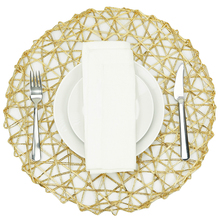 "Woven Paper Round Decorative Metalic Placemat or Charger for Holiday and Decor, 15"" Round, Gold, Set of 4"