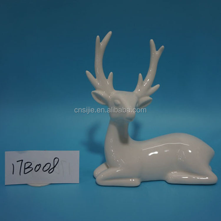 Wholesale Christmas Decorations Home Decoration White Ceramic Deer Figurine