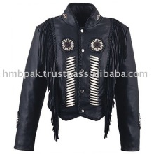 HMB-309A WOMEN LEATHER JACKET BEADS WORK FRINGES WESTERN STYLE