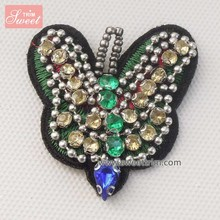 Latest beaded embroidery sequin butterfly patches beaded motif