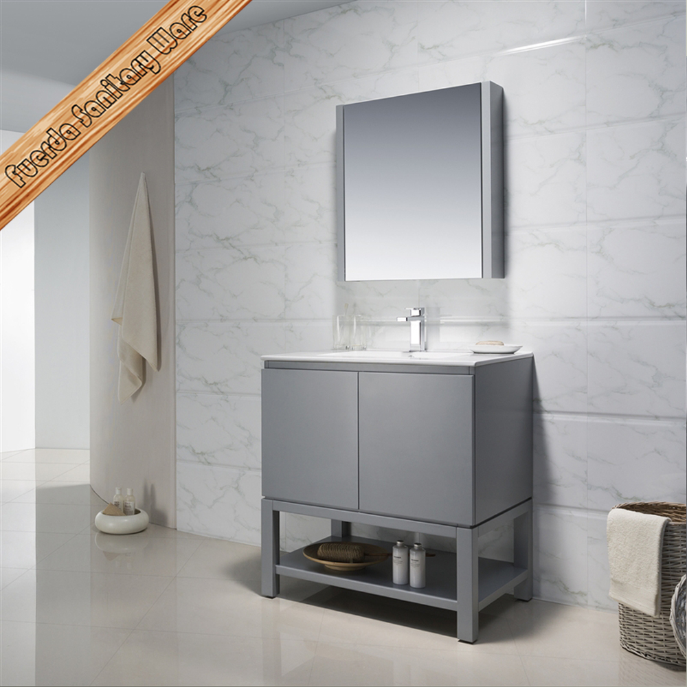 Light grey bathroom vanity units with simple design